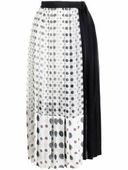 Sacai юбка с запахом и плиссировкой 2105586