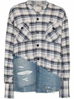 Greg Lauren рубашка River со вставками BM108