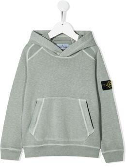 Stone Island Junior logo-patch cotton hoodie 741660541