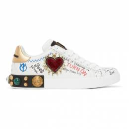 Dolce&Gabbana White Printed Portofino Sneakers CS1759AH0298I049