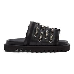 Toga Virilis Black Leather Slip-On Sandals FTVRM110609005