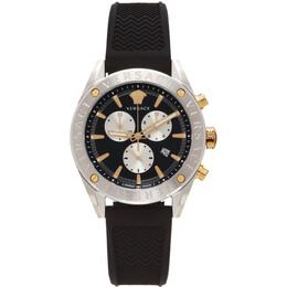 Versace Silver and Black V-Chrono Watch VEHB00119