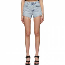 Alexander Wang Blue Denim Dipped Back Shorts 4DC2214342