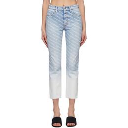 Alexander Wang Blue Ombre Logo High Rise Jeans 4DC2214906