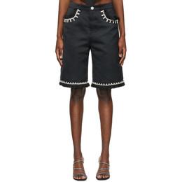 Area Black Raw Edge Five Pocket Shorts SS21P04052