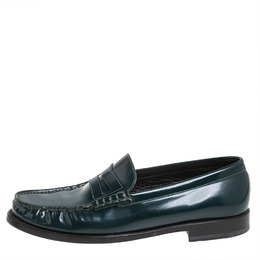 Saint Laurent Green Leather Penny Slip On Loafers Size 42 404974