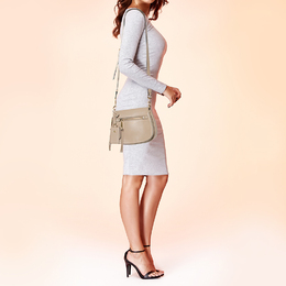 Marc Jacobs Beige Leather Small Recruit Saddle Bag 412008