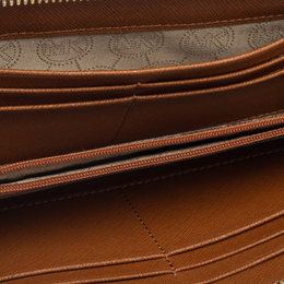 Michael Kors White/Blue Leather Jet Set Zip Around Wallet 412011