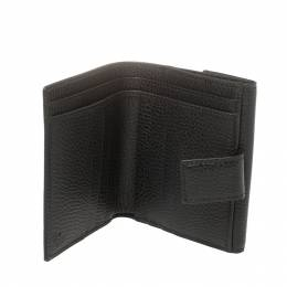 Gucci Black Leather French Flap Wallet 411973