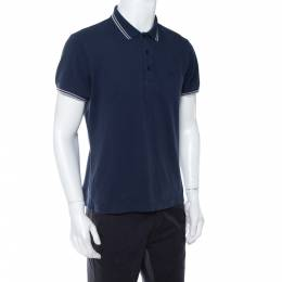 Dior Navy blue Bee Embroidered Cotton Pique Polo T-Shirt L 412724