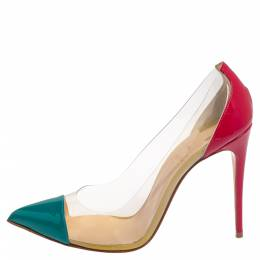 Christian Louboutin Multicolor Patent Leather and PVC Debout Pointed Toe Pumps Size 38 411962