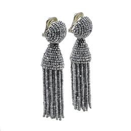 Oscar De La Renta Silver Beaded Short Tasseled Clip On Earrings 411951
