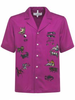 Вышитая Атласная Рубашка Zodiac Soulland 73IR6W006-UFVSUExFIEFPUA2