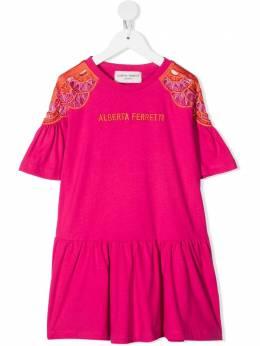 Alberta Ferretti Kids платье с вышитым логотипом 027981