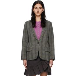 Isabel Marant Etoile Off-White and Black Wool Charly Blazer 00MVE0439-00M003E