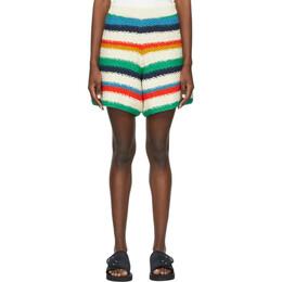 The Elder Statesman Off-White Organic Cotton Stripe Shorts 210239