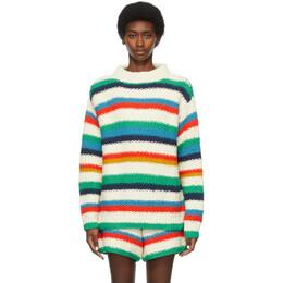 The Elder Statesman Off-White Organic Cotton Stripe Sweater 210235