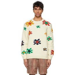 The Elder Statesman Off-White Flower Blast Sweater 210236