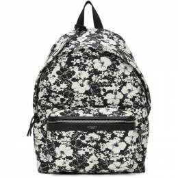 Saint Laurent Black and White Hibiscus Toile Print City Backpack 534967 2QK2F