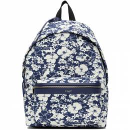 Saint Laurent Blue and White Hibiscus Toile Print City Backpack 534967 2QK2F