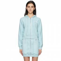 Moschino Blue Inside Out Label Zip-Up Hoodie A1701 0428
