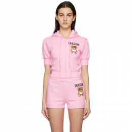 Moschino Pink Inside Out Teddy Bear Cropped Zip-Up Hoodie A1710 0427