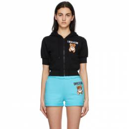 Moschino Black Inside Out Teddy Bear Cropped Zip-Up Hoodie A1710 0427