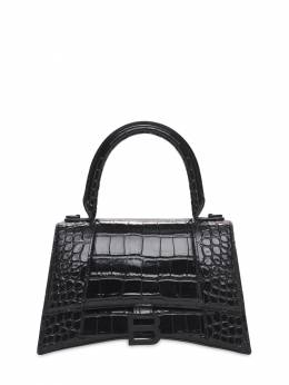 S Hourglass Croc Embossed Leather Bag Balenciaga 73IWD2085-MTAwMA2