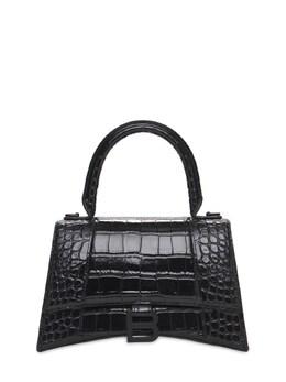 S Hourglass Croc Embossed Leather Bag Balenciaga 73IWD2085-MTAwMA2