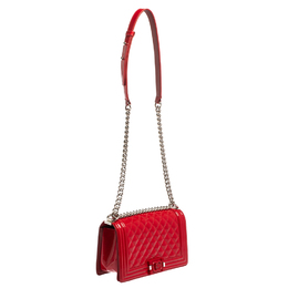 Chanel Red Quilted Patent Leather Medium Boy Flap Bag 413696