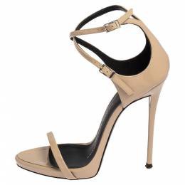 Giuseppe Zanotti Design Beige Patent Leather Open Toe Ankle Strap Sandals Size 35 411956