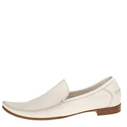 Bottega Veneta Cream Leather Pointed Toe Slip on Loafers Size 41 412430