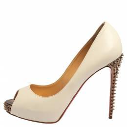 Christian Louboutin White Leather New Prive Spike Heel Peep Toe Platform Pumps Size 39 412986