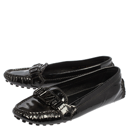 Louis Vuitton Black Patent Leather Slip On Loafers Size 35 414859