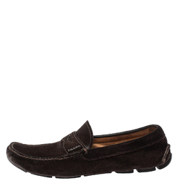 Prada Brown Suede Penny Slip On Loafers Size 43.5 413100