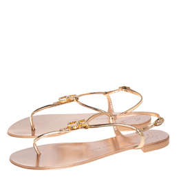 Giuseppe Zanotti Design Metallic Gold Leather Embellished Thong Flat Ankle Strap Sandals Size 39 412994
