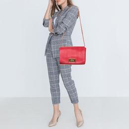 Fendi Red Pequin Embossed Leather Large Claudia Shoulder Bag 412982