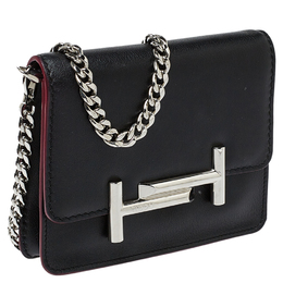 Tod's Black Leather Double T Chain Shoulder Bag 412447