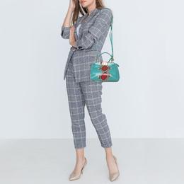 Fendi Turquoise/Red Python Mini Peekaboo Top Handle Bag 413004