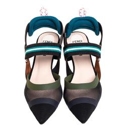 Fendi Multicolor Mesh And Nylon Colibri Pointed Toe Slingback Sandals Size 36 413266