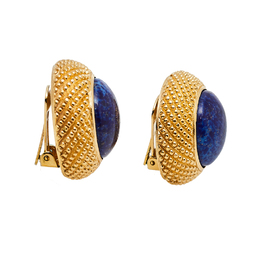 Christian Dior Gold Tone Blue Resin Round Clip On Stud Earrings 413870
