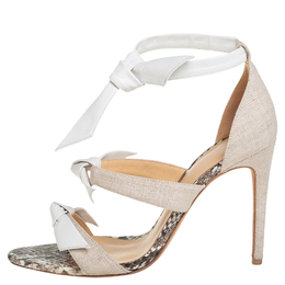Alexandre Birman White Canvas And Leather Ankle Strap Sandals Size 38.5 416179