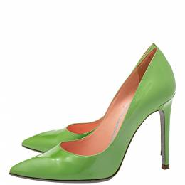 Rene Caovilla Green Patent Leather Pointed Toe Pumps Size 35.5 416540