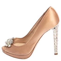 Miu Miu Pink Satin Crystal Embellished Heel Peep Toe Platform Pumps Size 37 412608