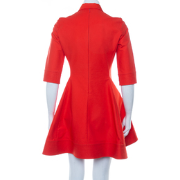 Christian Dior Orange Cotton Embellished Detail Collared Mini Dress M 416975