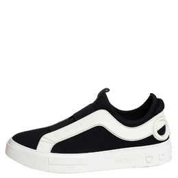 Salvatore Ferragamo Black/White Fabric And Rubber Answer Slip On Sneakers Size 44 413028