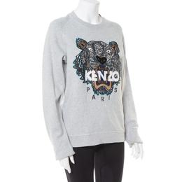 Kenzo Grey Tiger Motif Embroidered Cotton Crewneck Sweatshirt S 413397