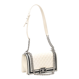 Chanel White Quilted Leather Versailles Boy Medium Bag 412383