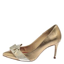 Carolina Herrera Metallic Gold/Silver Leather Bow Pumps Size 37 413624