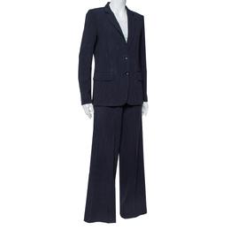 Max Mara Navy Blue Pinstriped Wool Selz Suit M 412704